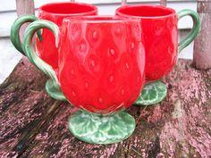 Vintage Strawberry Mugs ( toss in strawberries and munch munch munch ;)