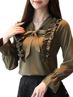 Buy Women's Plus Size Blouse Solid Color V Neck Bow Long Flare Sleeve Ruching Patchwork Top & Blouses - at Jolly Chic Sleeves Designs For Dresses, Dress Neck Designs, Stylish Dresses, Fashion Dresses, Best Blouse Designs, Hijab Stile, Modern Hijab Fashion, Cheap Dresses Online, Casual Hijab Outfit