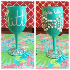 """Alpha & Co """"little"""" wine glass! Tiffany themed wine glass that is a sorority craft for the little! #alphaomicronpi #AOII #biglittle #tiffany"""