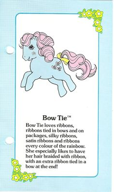 My Little Pony fact file for Bow Tie (many others on the MLP forums