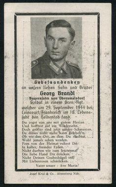 orig. WK2 STERBEBILD - DEATH CARD - Invasion Frankreich 1944 - 18 Jahre alt