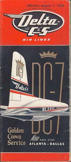 vintage airline timetable for delta - Website Credit Here… Vintage Advertisements, Vintage Ads, Vintage Airline, Vintage Prints, Atlanta, Airline Logo, Aviation Art, Civil Aviation, Poster Ads