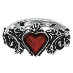 """Original """"Alchemy Gothic""""-""""Betrothal"""" anillo    Anillo de compromiso con ornamentos, con una piedra en forma de corazón rojo sangre en medio. El anillo es aprox. de 13mm de ancho."""