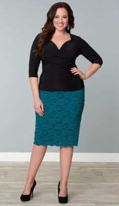 Lace Pencil Skirt with cling shirt