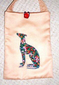 Handmade whippet bag appliqued with Liberty fabric