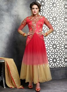 Amazing Red And Brown Shaded Designer Georgette Salwar Suit http://www.angelnx.com/