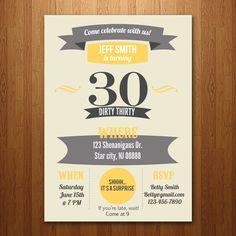 30th, 40th, 50th, 60th Birthday Party Invitation - Any age. $15.00, via Etsy.