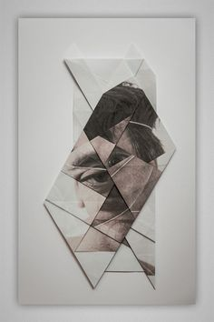 Use this idea for folding up the face. Photograph in a white frame? To signify simplicity.