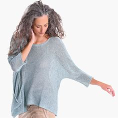 Carefree elegance, solo or layered. Knit by hand in ultra-soft cotton that's blended with a touch of stretch, this luxe scoop-neck sweater in a semi-sheer airy knit flaunts elbow-length dolman sleeves, off-center seam detail, signature draped side. Hand Knitting, Flow, Scoop Neck, Touch, Pocket, Elegant, Detail, Stylish, Sleeves