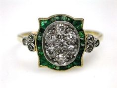 Art Deco. 18k Gold, Emerald and Diamond Ring, c1925.