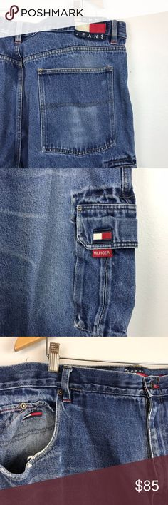"TOMMY JEANS {44/32} Vintage Cargo Jeans TOMMY JEANS {44/32} Vintage Cargo Jeans  Sz 44/32 Waist 44"" Length 44"" Inseam 31.5"" Rise 15"" Measured flat  Preowned condition - signs of vintage wear - see pics Tommy Hilfiger Jeans"