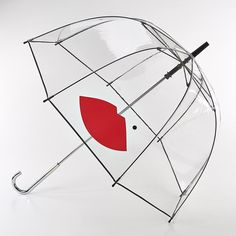 Lulu Guinness Birdcage Red Lip Dome Shaped Umbrella