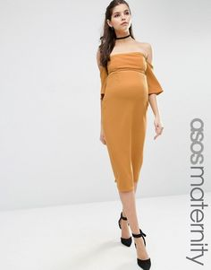 4c0b9385b2e4b ASOS Maternity Fluted Sleeve Midi Bodycon Dress in Texture - Shop for women's  Dress - Mustard