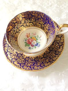 Antique Aynsley English Fine Bone China Cobalt by MariasFarmhouse, $110.00