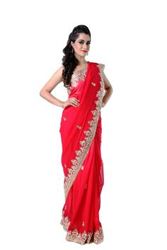 Ranas Woman Pure Georgette Shaded Red Saree