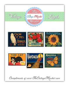 free printable vintage image sheet   by The Cottage Market  http://www.thecottagemarket.com/2012/06/free-vintage-crate-label-printables-and.html