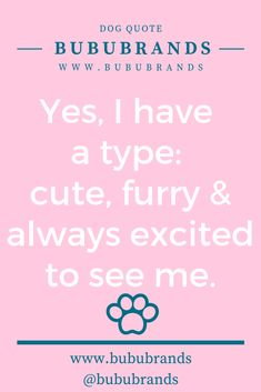 Bubu Brands Dog Quote: Yes, I have a type: cute, furry & always excited to see me. Dog Lover Gifts, Dog Lovers, Natural Dog Treats, Dog Signs, Lol So True, Dog Quotes, Dog Mom, Fur Babies, Your Pet