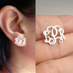 Sterling Silver Monogram Earrings-Personalize Earings any initial Monogram Earings gold plated rose gold plated Handmade A Name Earrings, Monogram Earrings, Initial Earrings, Monogram Jewelry, Monogram Initials, Personalized Jewelry, Women's Earrings, Or Rose, Rose Gold