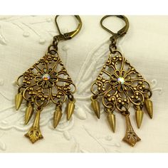 Antiqued Filigree Brass Chandelier Earrings with by baubleshoppe, $16.50