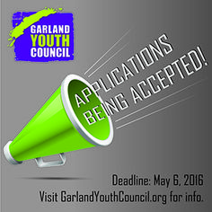 The Garland City Council wants to hear from the city's youth and invites #Garlandtx teens to apply to serve on the Garland Youth Council (GYC). Garland residents who will be in grades 9-12 during the 2016-17 school year are eligible to apply. Applicants should submit a completed GYC application and two letters of recommendation to Beth Dattomo, 200 N. Fifth St., by May 6.