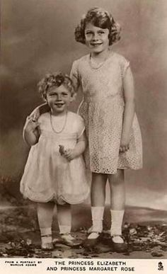 """The York sisters.  Princesses Margaret Rose (left) and Elizabeth of York, daughters of the future George VI.  At this time in their lives their uncle, Prince Edward, was still the heir apparent and the sisters were headed for a life of relative obscurity (""""obscure"""" that is, for members of the world's most famous royal family)."""