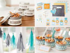 """Robot Baby shower (Bundle of Bots). Gotta love the """"Spare Parts"""" Pasta Salad and the """"Nuts & Bolts"""" Snack Mix. <3 #babyshower #robots #party"""
