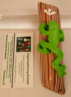tree frog mezuzah Made by Michelle Mathis Burckhalter using polymer clay - NO PAINTS!  Order info: michellemathis@claycreationsbymichelle.com