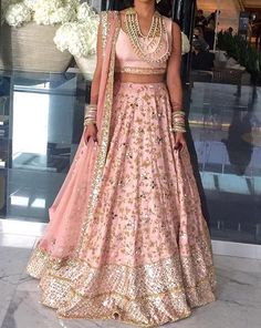 Light pink and silver Bridal lehenga