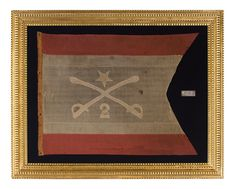 The personal headquarters flag of Philip Henry Sheridan, one of the most extraordinary Civil War generals. Made of merino wool and entirely hand-sewn, this was Sheridan's colors from the Spring – Summer of 1862, when he led the 2nd Michigan Cavalry with great effect and rose from Captain to Major General in just six months.