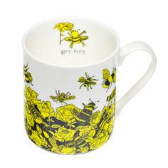Fine bone china mug featuring a yellow and black bee design.  Image by ARTHOUSE Meath group.