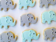 Blue & Gray Elephant Cookies,        Mini Sugar Cookies-2 Dozen, by A Cookie Jar