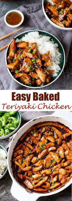 So simple and tasty – the whole family will love this baked teriyaki chicken. So simple and tasty – the whole family will love this baked teriyaki chicken. Chicken Teriyaki Rezept, Teriyaki Chicken Casserole, Teriyaki Sauce, Teriyaki Chicken Slow Cooker, Teriyaki Tofu, Soy Sauce, Baked Chicken, Boneless Chicken, Roasted Chicken