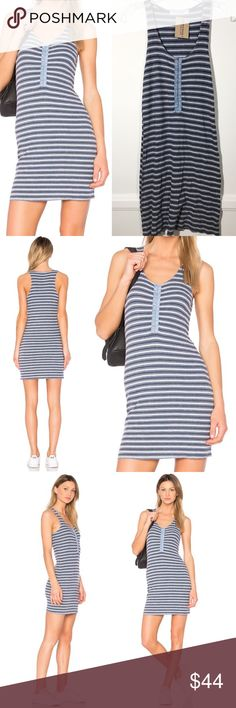 """PROJECT SOCIAL T 💙 Soul Sister Dress Mineral Blue Throw on the Project Social T Soul Sister Rusty Rose Striped Dress and never take it off! This super comfy jersey knit dress has an allover rusty rose, cream, and black striped pattern that shapes a rounded neckline and sleeveless bodice with a cute hook-and-eye placket. Bodycon silhouette. Approximate flat measurements: 35"""" from shoulder to hem  Unlined. 50% Rayon, 46% Polyester, 4% Spandex. Machine Wash Cold. Urban Outfitters Dresses"""