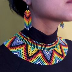 Native Embera Indian Beaded Necklace from Latin America Beaded Necklace made by Embera Indians This item was handmade by . Collar Macrame, Beaded Collar, Seed Bead Jewelry, Beaded Jewelry, Beaded Necklace, Beaded Crafts, Jewelry Crafts, Zulu, Bead Loom Bracelets