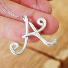 Initial Necklace, Silver, Aluminum Wire, Letter A, Wire Jewelry, Personalized. $16.00, via Etsy.