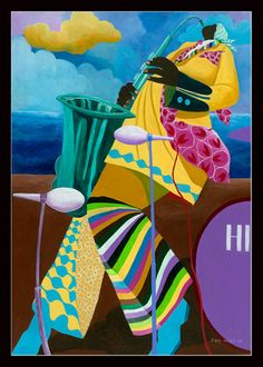 Ivey Hayes ~ Blues at the Beach African American Art, African Art, American Artists, Working Blue, Cuban Art, Caribbean Art, Folk, Unique Paintings, Tropical Art