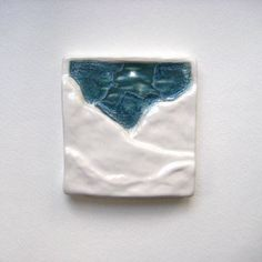 Mountain Sky Tile 4x4  Melted Glass White Snow by corduroyclay, $22.00