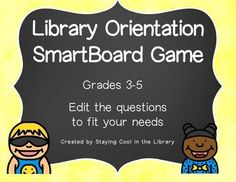 This is a a SmartBoard game to introduce elementary students to the library. The game has 18 questions and go over rules, library procedures and vocabulary. The questions can easily be changed to fit your needs, all the graphics and links will stay the same. I have used this with 3rd through 5th grades but the format will work for almost any grade as long as you modify the questions.