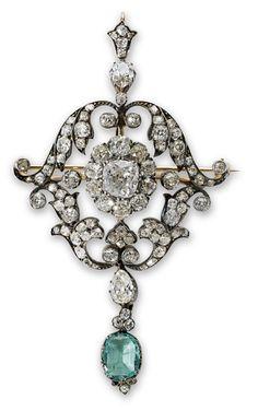 PHILLIPS : UK060111, , An antique emerald and diamond pendant brooch
