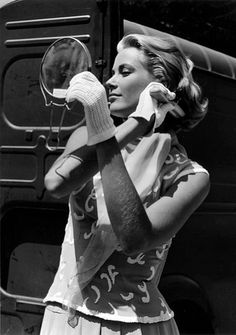 """Grace Kelly during filming of """"To Catch a Thief"""". Photo by Edward Quinn, Cannes 1954 