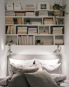 Modern Home Decor Bedroom Interior, Home, Home Bedroom, Bookshelves In Bedroom, Bedroom Interior, Minimalist Home Decor, Small Space Bedroom, Interior Design, Interior Design Bedroom
