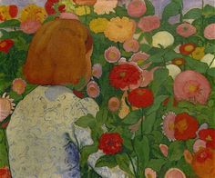 Girl in the Flowers  1896. Cuno Amiet was a Swiss painter, illustrator, graphic artist and sculptor.