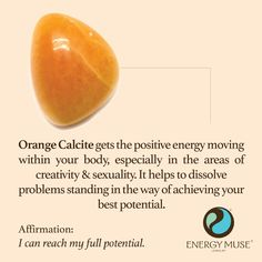 Orange Calcite gets the positive energy moving, especially in the areas of creativity and sexuality. #crystals