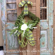 Green Plaid & White Peony Faux Moss Wreath, Spring Wreath, Wreath, Door Decor, Outdoor Wreath, Spring Decor by RcollectionandCo on Etsy https://www.etsy.com/listing/290088441/green-plaid-white-peony-faux-moss-wreath