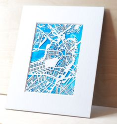 CUSTOM Laser cut map with Watercolor background- White/Cerulean