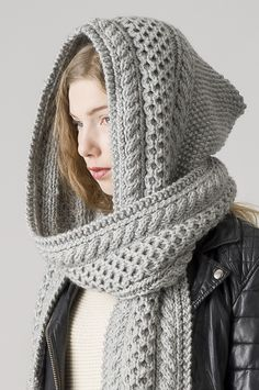 A knitted hood scarf ♡ Neulottu huppuhuivi Novita Hile Easy Scarf Knitting Patterns, Crochet Scarf Easy, Easy Knitting, Knit Crochet, Hooded Scarf Pattern, Snood Pattern, Knitting Charts, Crochet Baby Pants, Crochet Shoes