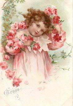 E Clapsaddle Girl in Red Roses Beautiful 1890s Chromo | eBay