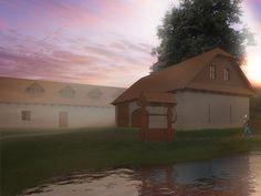 Sunset, reconstruction farmhouse.