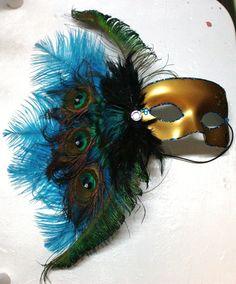 Peacock & Teal Feathers Mardi Gras Mask. $25.00, via Etsy.