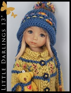 "OOAK Blue & Gold BEAR Outfit for Little Darlings Effner 13"" by Maggie & Kate"